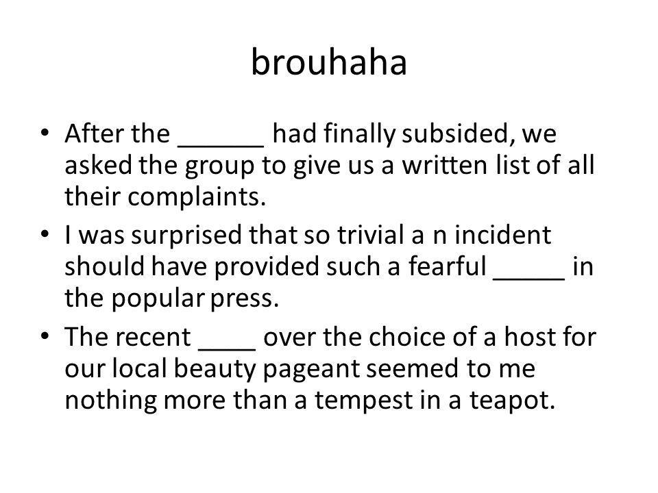 brouhaha After the ______ had finally subsided, we asked the group to give us a written list of all their complaints.