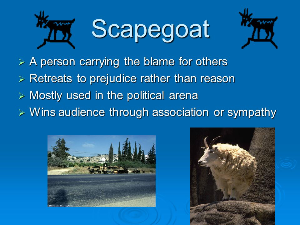 Scapegoat A person carrying the blame for others