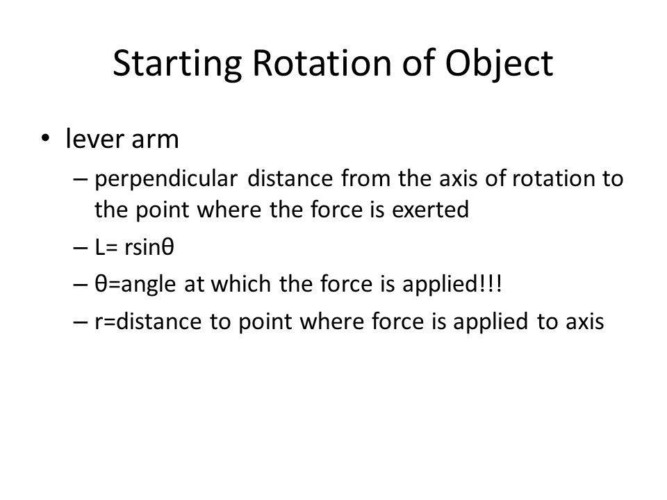 Starting Rotation of Object