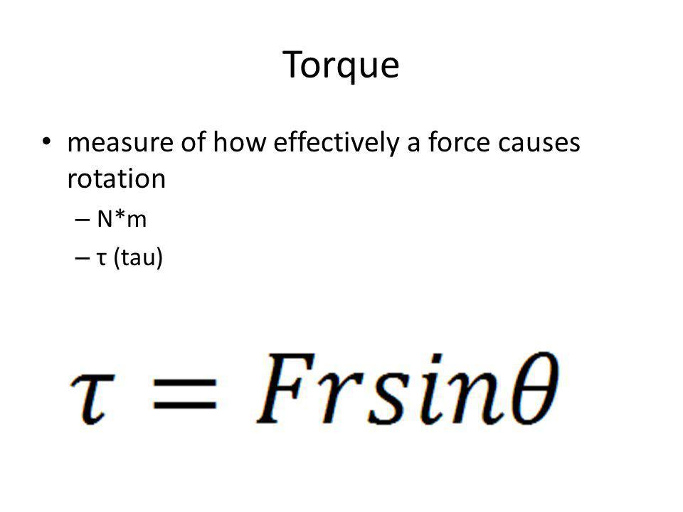 Torque measure of how effectively a force causes rotation N*m τ (tau)