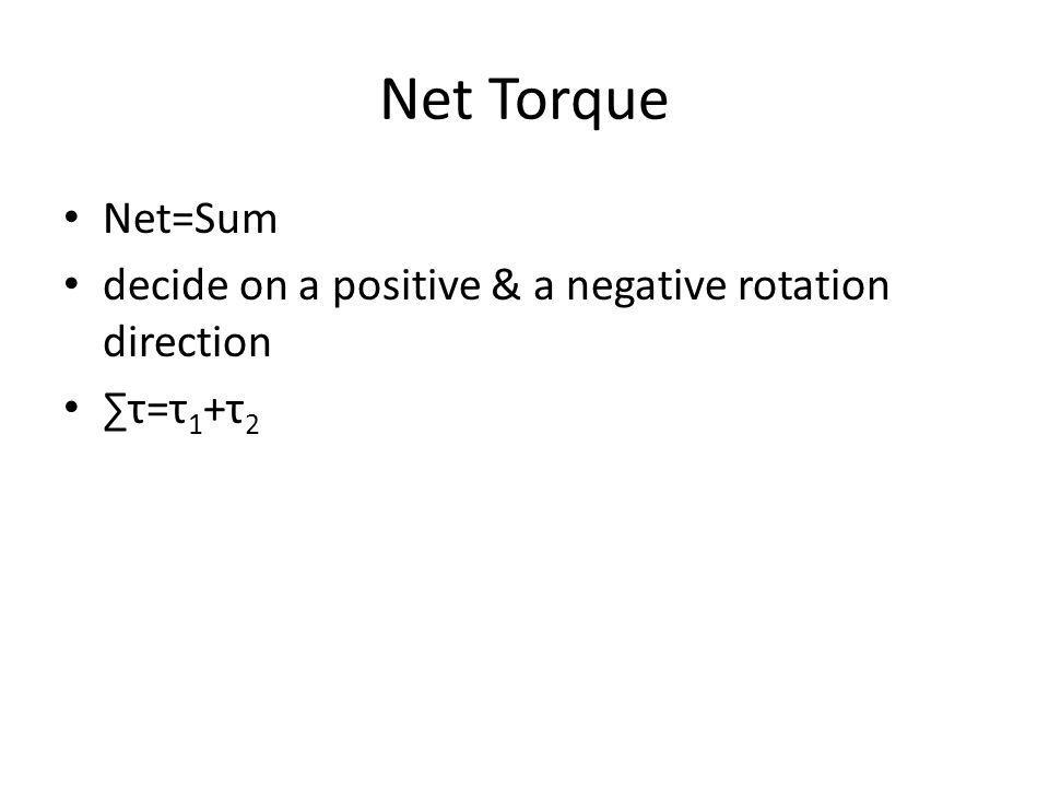 Net Torque Net=Sum decide on a positive & a negative rotation direction ∑τ=τ1+τ2