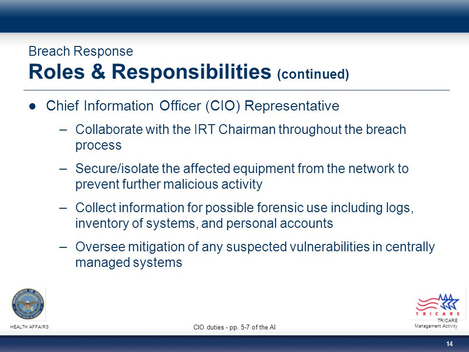 Breach Response Roles & Responsibilities (continued)