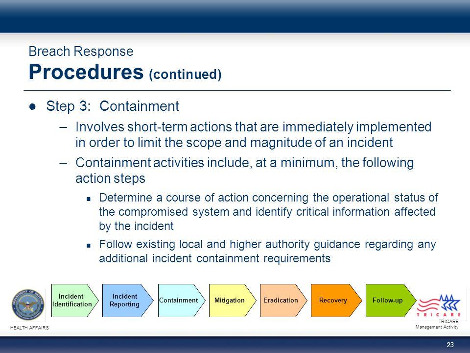 Breach Response Procedures (continued)