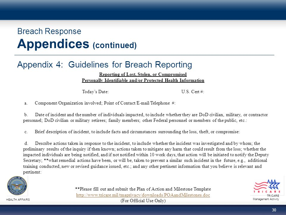 Breach Response Appendices (continued)