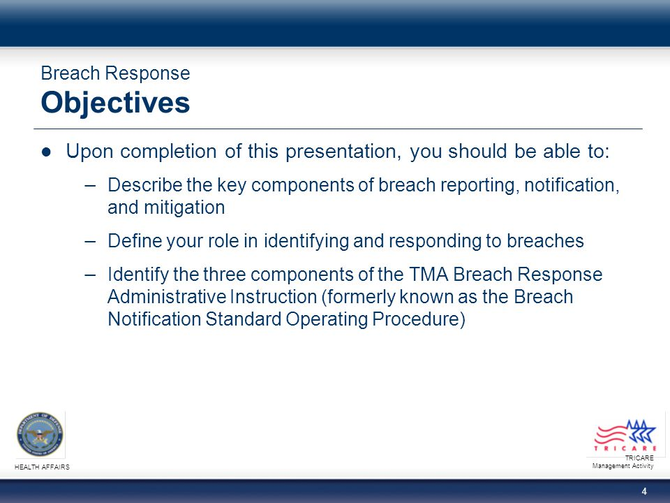 Breach Response Objectives