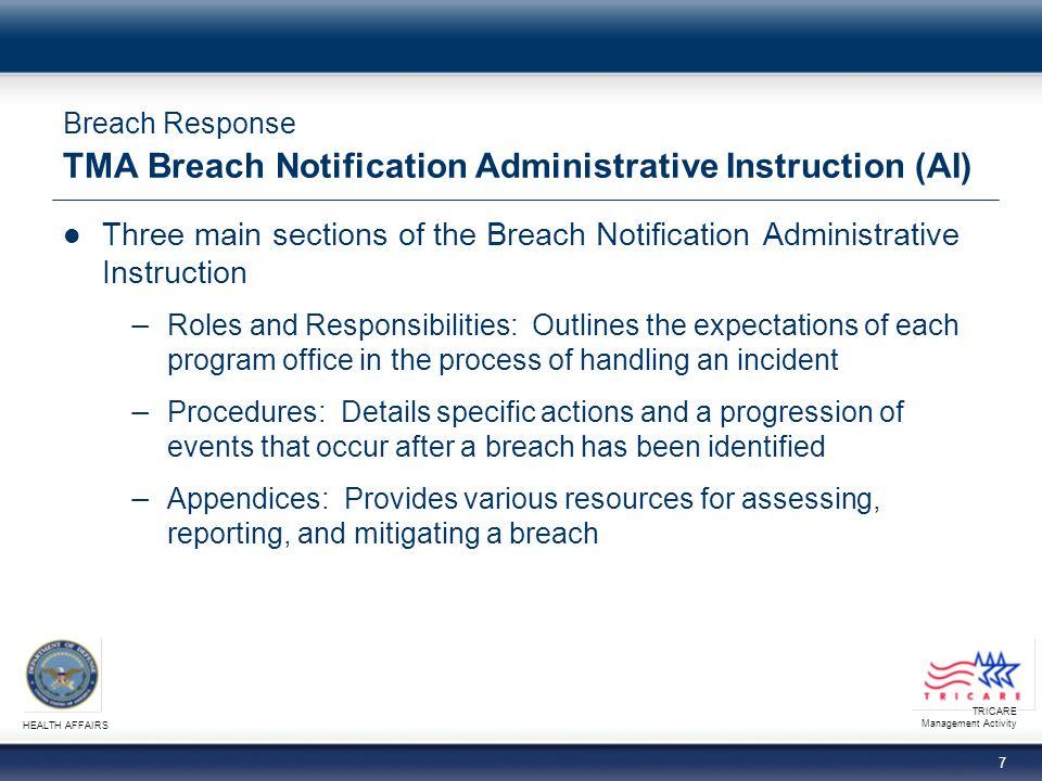 Breach Response TMA Breach Notification Administrative Instruction (AI)