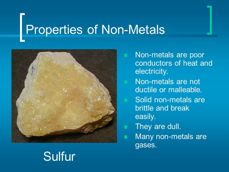 Properties of Non-Metals