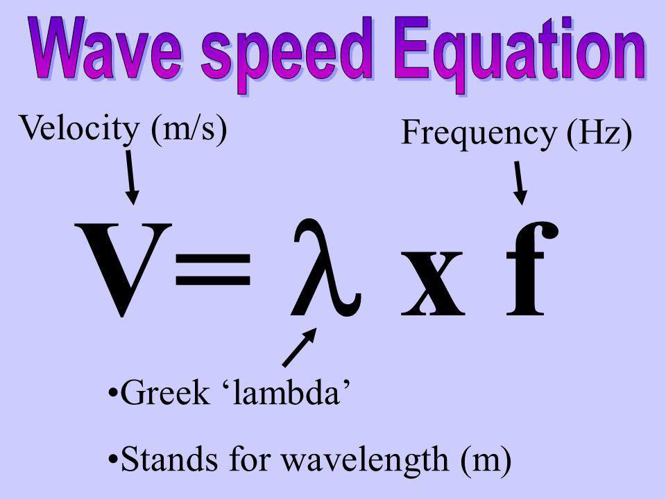 V= l x f Velocity (m/s) Frequency (Hz) Greek 'lambda'