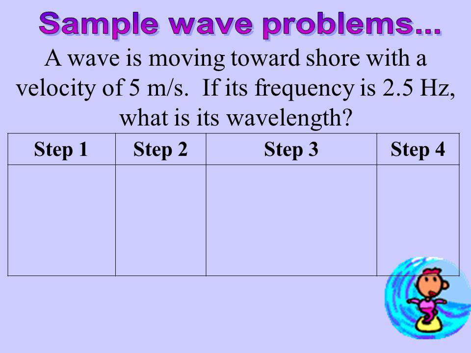 Sample wave problems... A wave is moving toward shore with a velocity of 5 m/s. If its frequency is 2.5 Hz, what is its wavelength