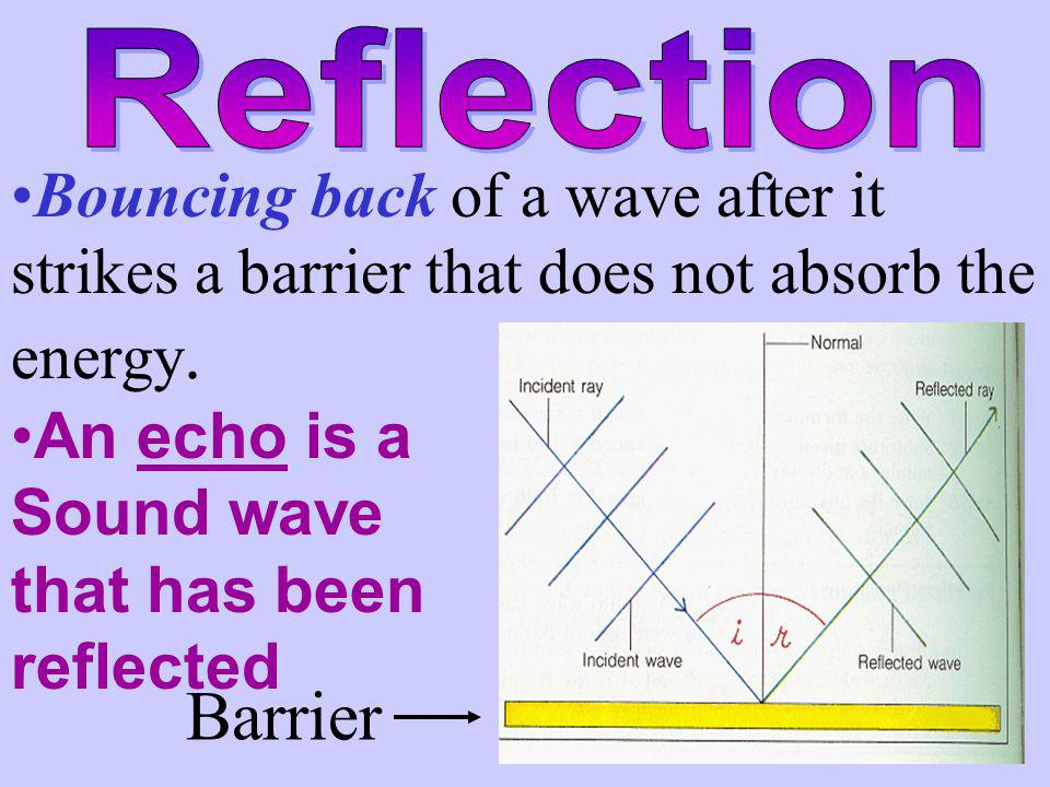 Reflection Bouncing back of a wave after it strikes a barrier that does not absorb the energy. An echo is a.