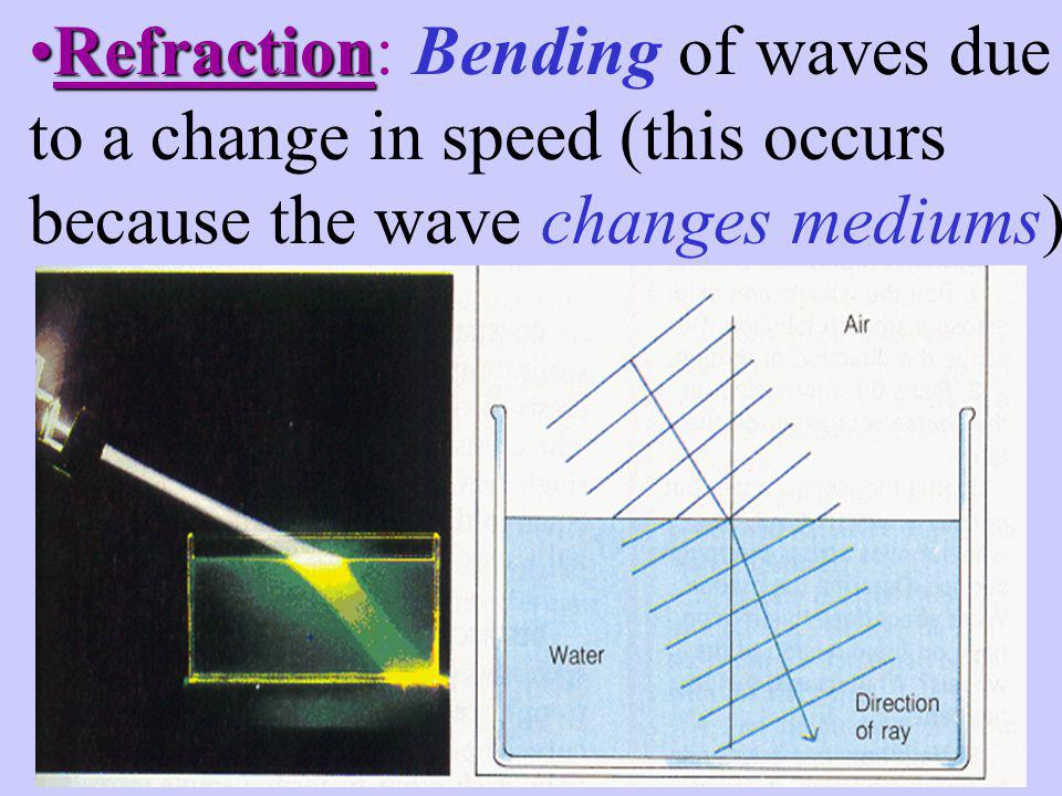 Refraction: Bending of waves due to a change in speed (this occurs because the wave changes mediums)