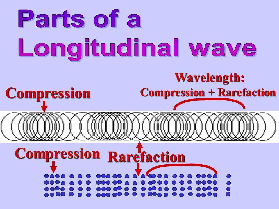 Compression Compression Rarefaction Parts of a Longitudinal wave