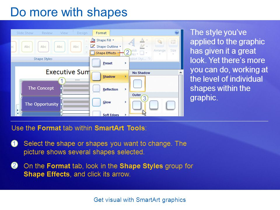 Get visual with SmartArt graphics