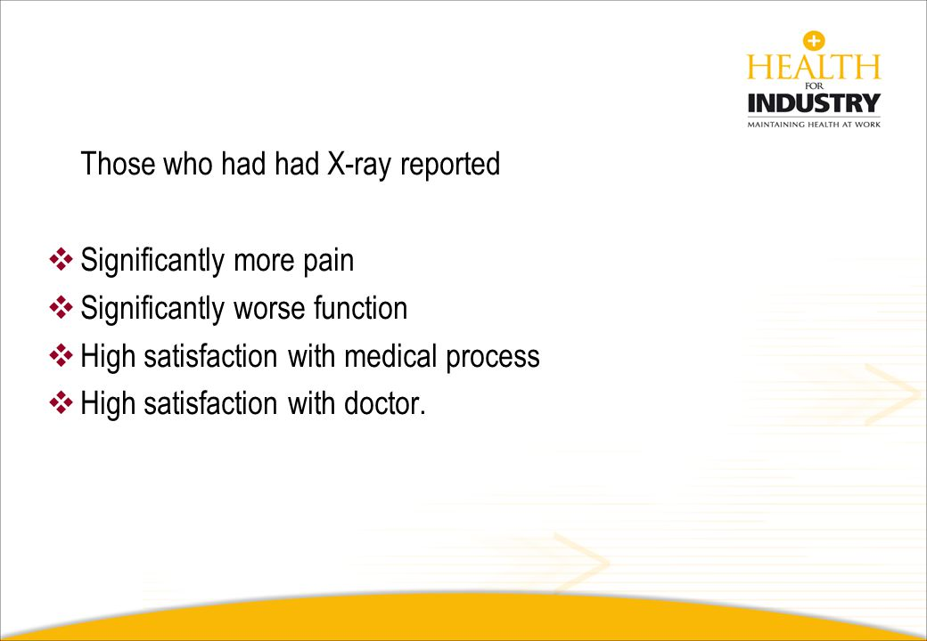 Those who had had X-ray reported