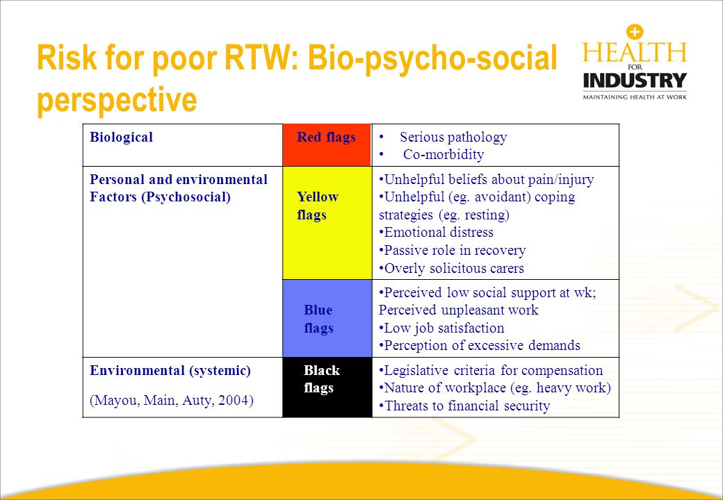 Risk for poor RTW: Bio-psycho-social perspective