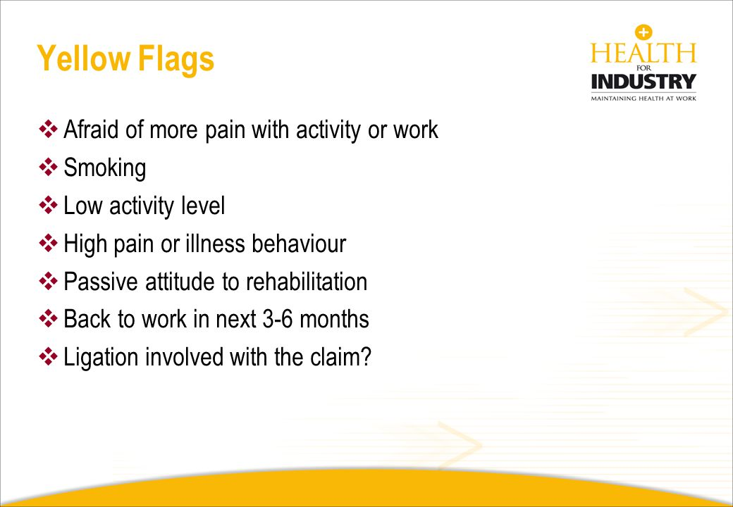 Yellow Flags Afraid of more pain with activity or work Smoking