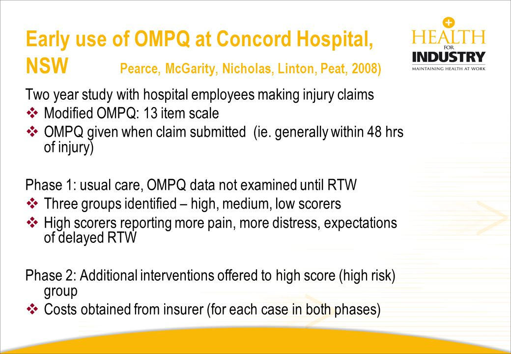 Early use of OMPQ at Concord Hospital, NSW