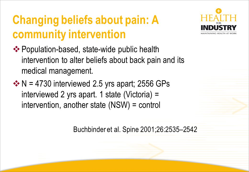 Changing beliefs about pain: A community intervention