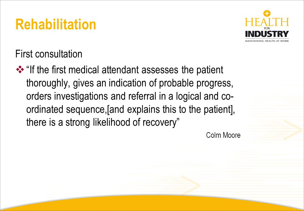 Rehabilitation First consultation