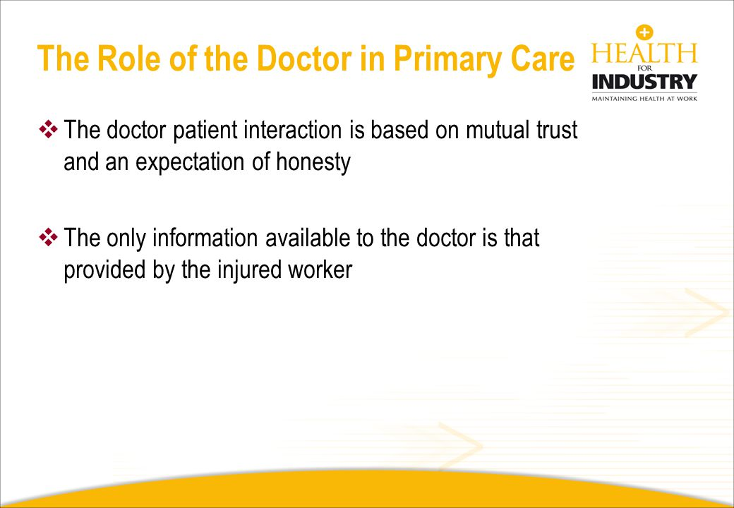 The Role of the Doctor in Primary Care