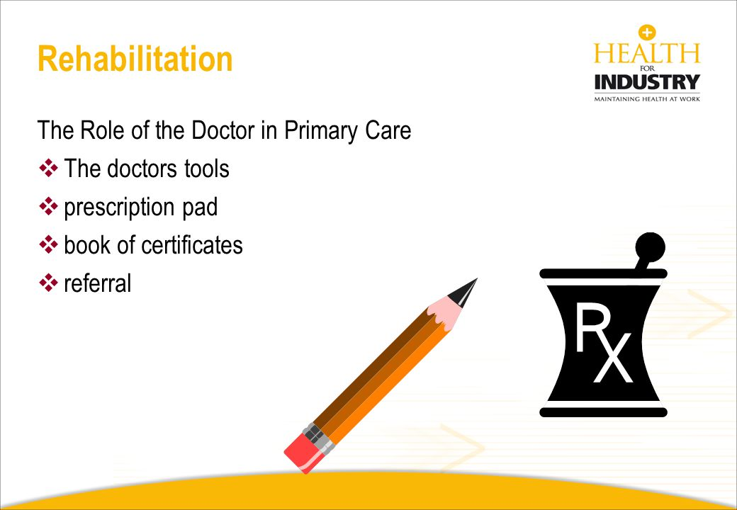 Rehabilitation The Role of the Doctor in Primary Care