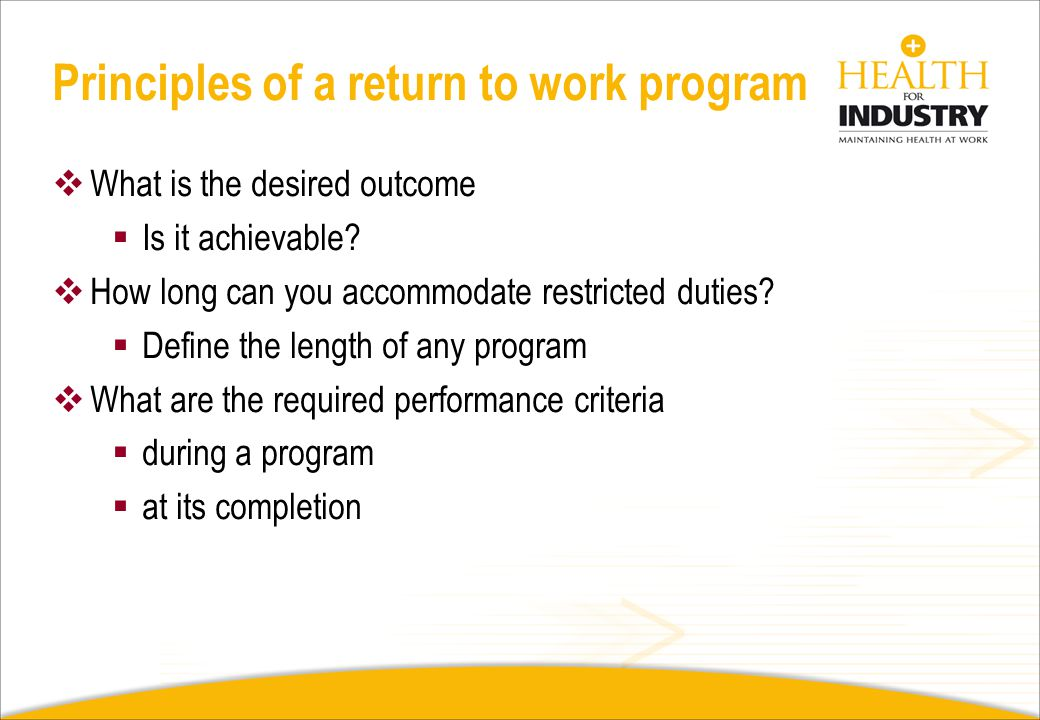 Principles of a return to work program