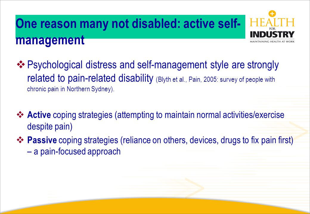 One reason many not disabled: active self-management