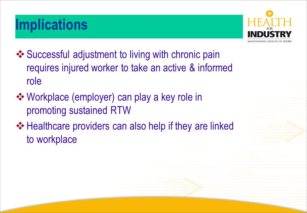 Implications Successful adjustment to living with chronic pain requires injured worker to take an active & informed role.