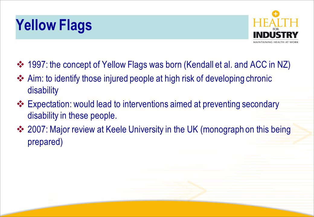 Yellow Flags 1997: the concept of Yellow Flags was born (Kendall et al. and ACC in NZ)