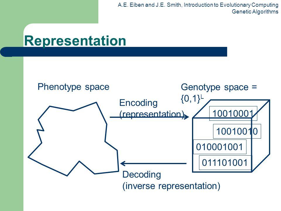 Representation Phenotype space Genotype space = {0,1}L Encoding