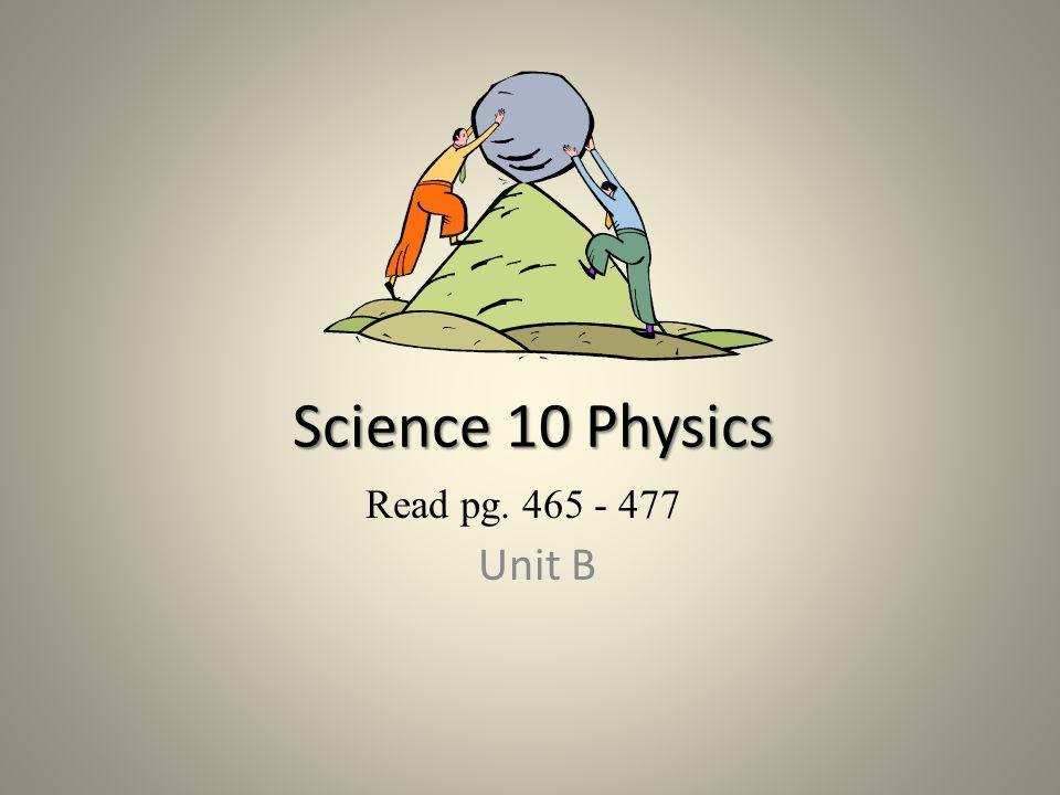 Science 10 Physics Read pg. 465 - 477 Unit B