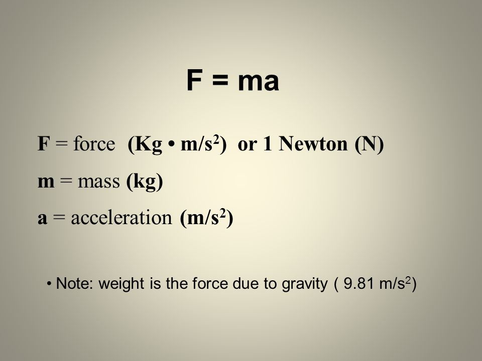 F = force (Kg • m/s2) or 1 Newton (N) m = mass (kg)
