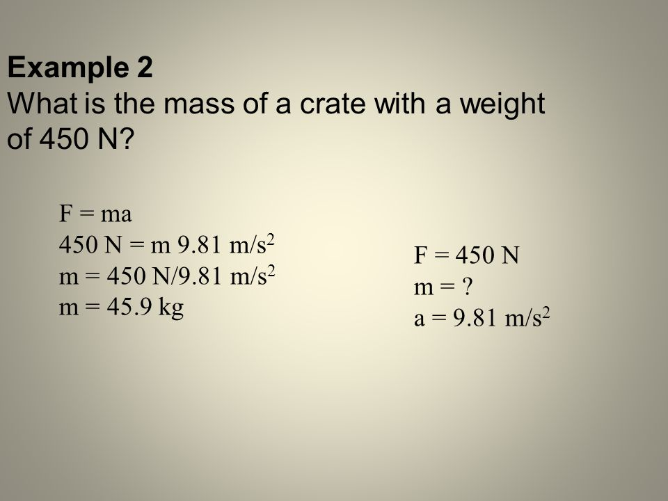 What is the mass of a crate with a weight of 450 N