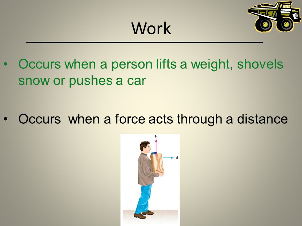 Work Occurs when a person lifts a weight, shovels snow or pushes a car