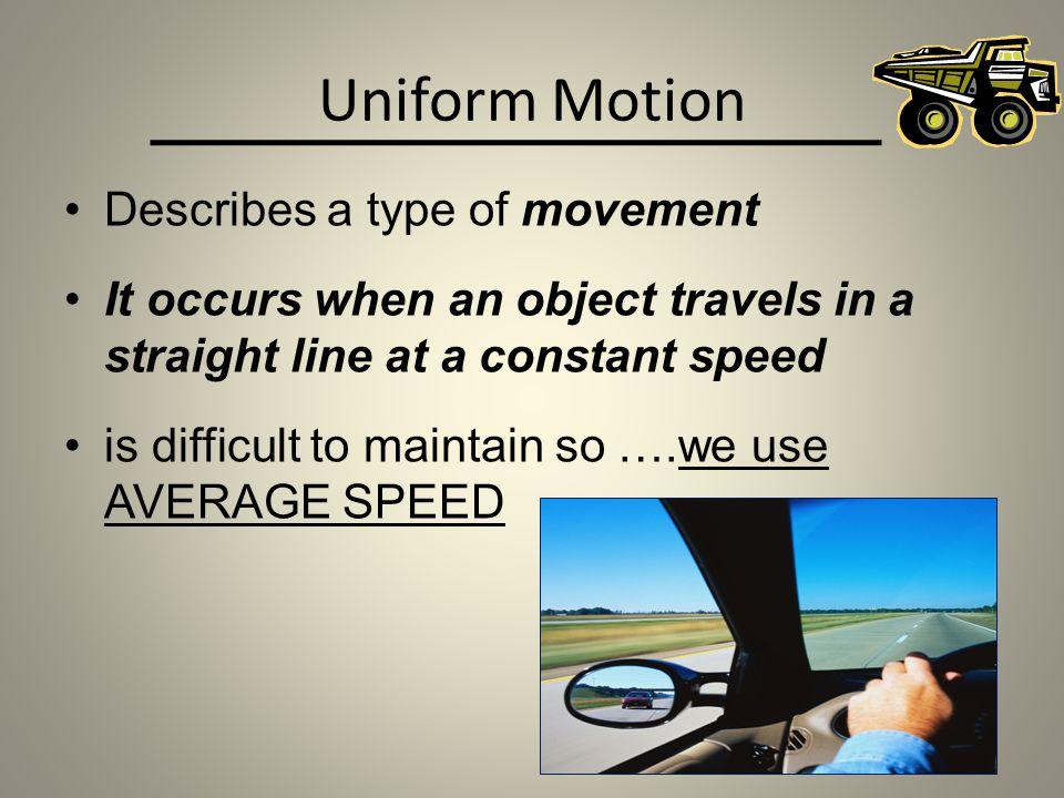 Uniform Motion Describes a type of movement