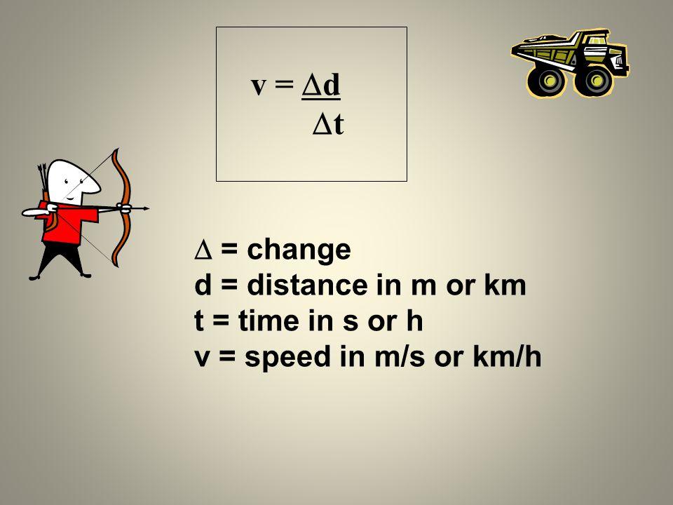 t  = change d = distance in m or km t = time in s or h