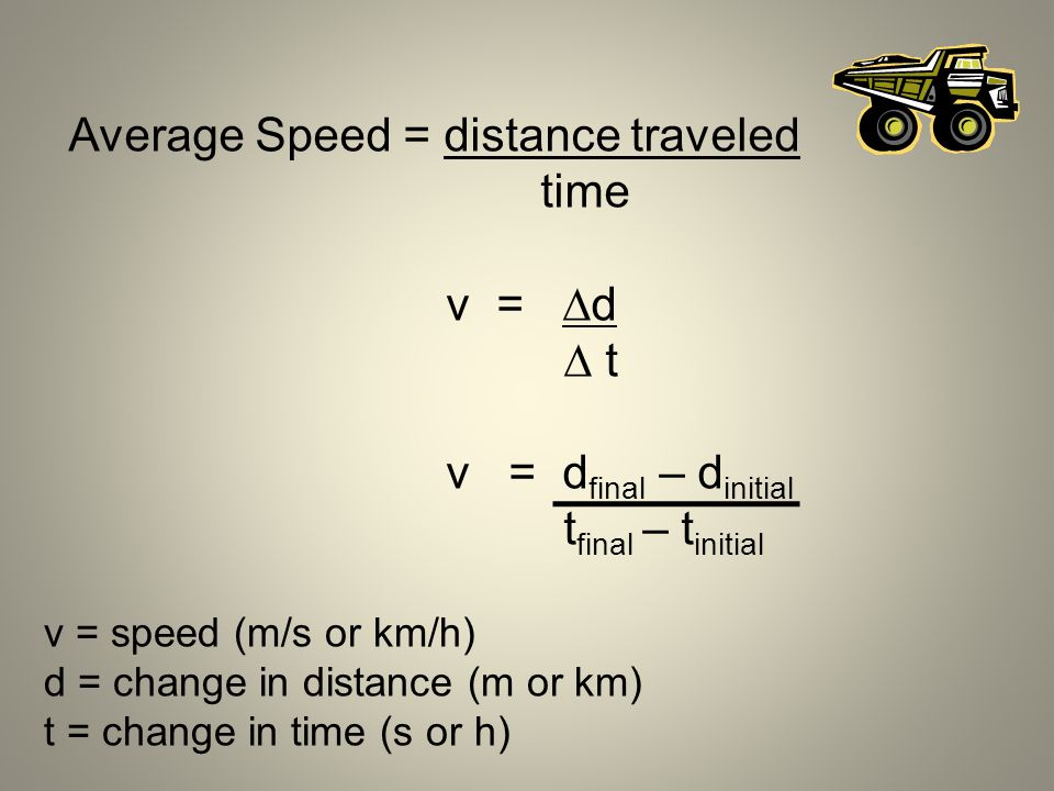Average Speed = distance traveled time v = d  t