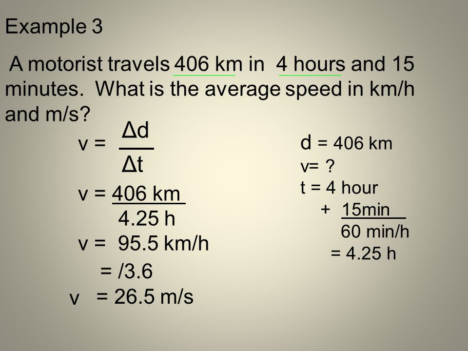 Example 3 A motorist travels 406 km in 4 hours and 15 minutes. What is the average speed in km/h and m/s