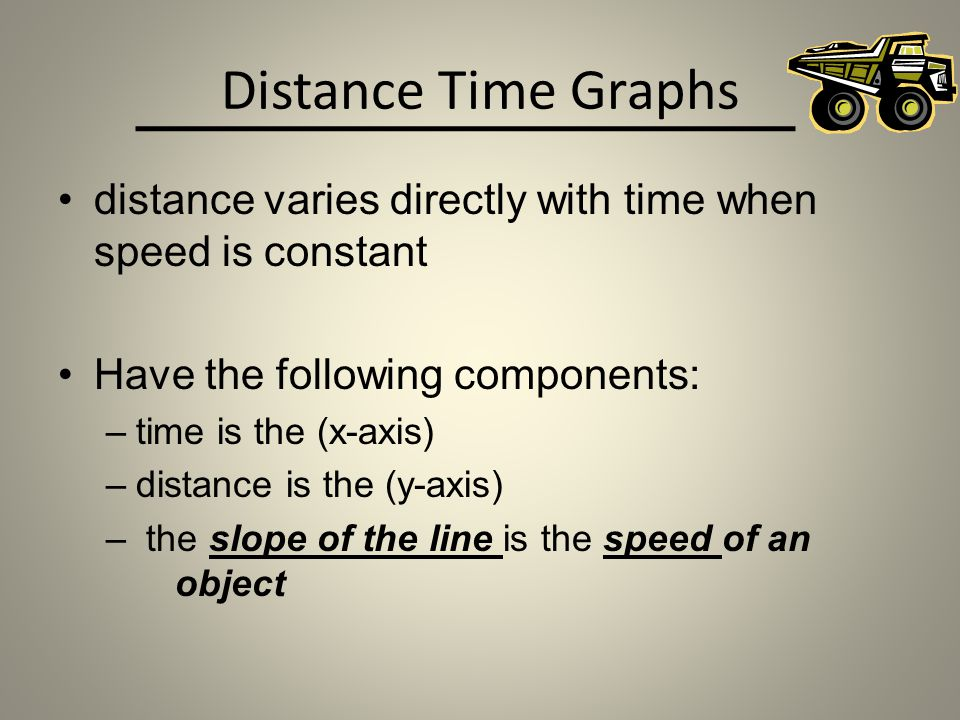Distance Time Graphs distance varies directly with time when speed is constant. Have the following components: