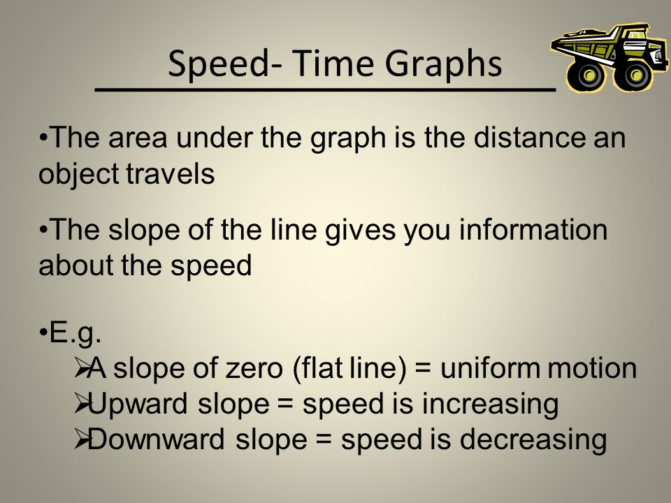 Speed- Time Graphs The area under the graph is the distance an object travels. The slope of the line gives you information about the speed.