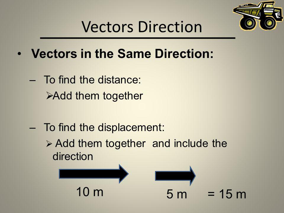 Vectors Direction Vectors in the Same Direction: 10 m 5 m = 15 m