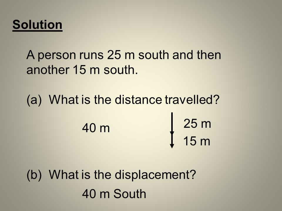 Solution A person runs 25 m south and then another 15 m south. (a) What is the distance travelled