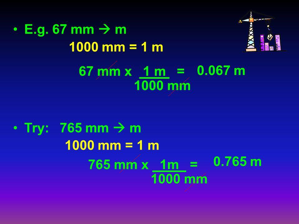 E.g. 67 mm  m 1000 mm = 1 m. Try: 765 mm  m. 0.067 m. 67 mm x 1 m = 1000 mm. 0.765 m. 765 mm x 1m =