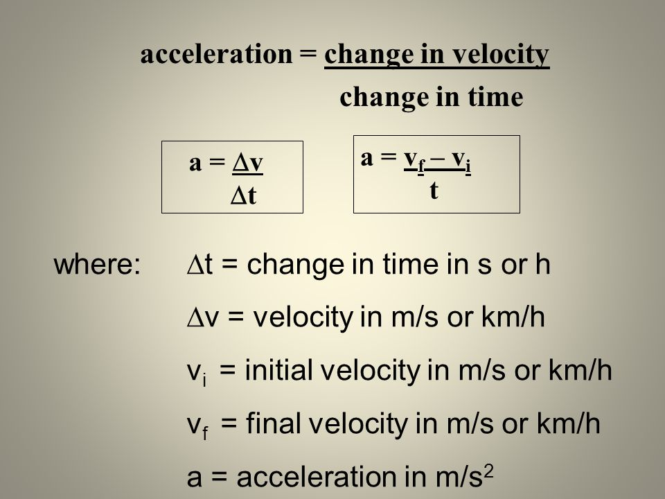acceleration = change in velocity change in time