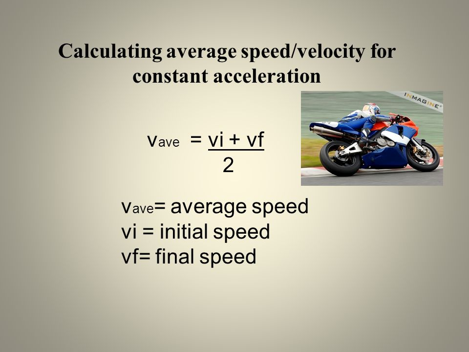 Calculating average speed/velocity for constant acceleration