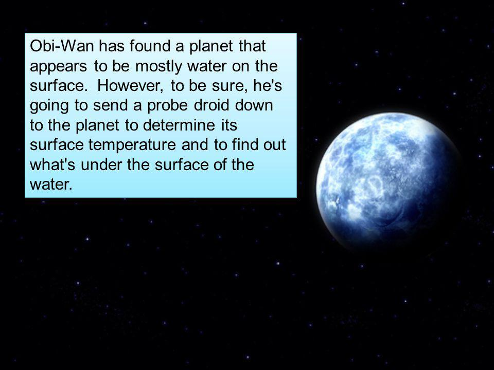 Obi-Wan has found a planet that appears to be mostly water on the surface.