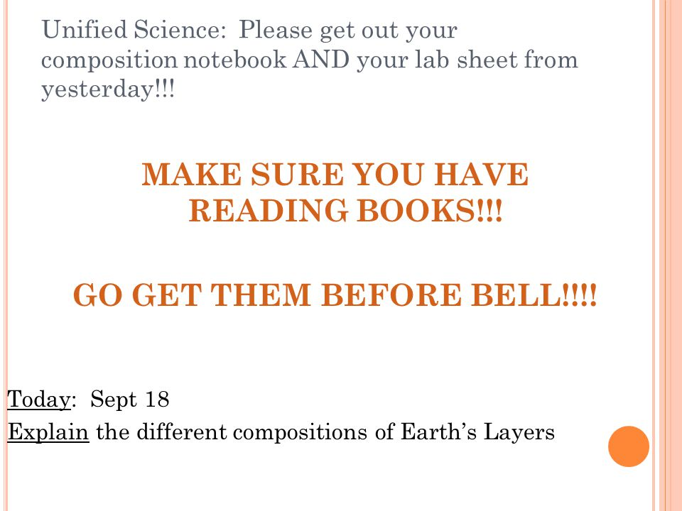 MAKE SURE YOU HAVE READING BOOKS!!!