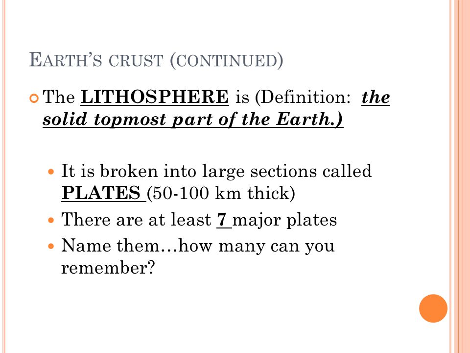 Earth's crust (continued)