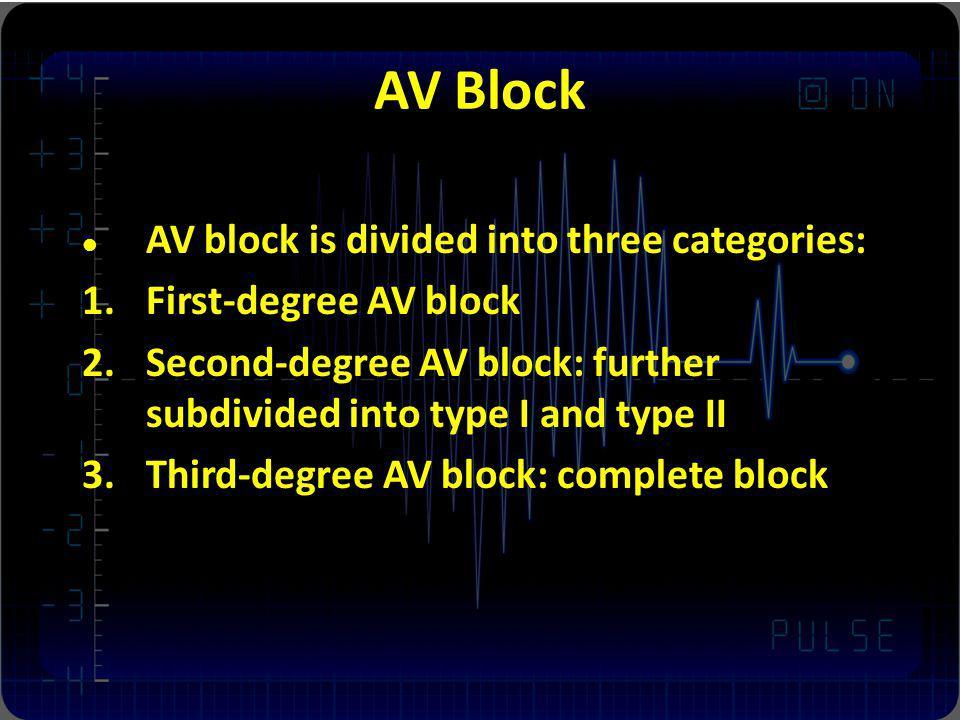 AV Block AV block is divided into three categories: