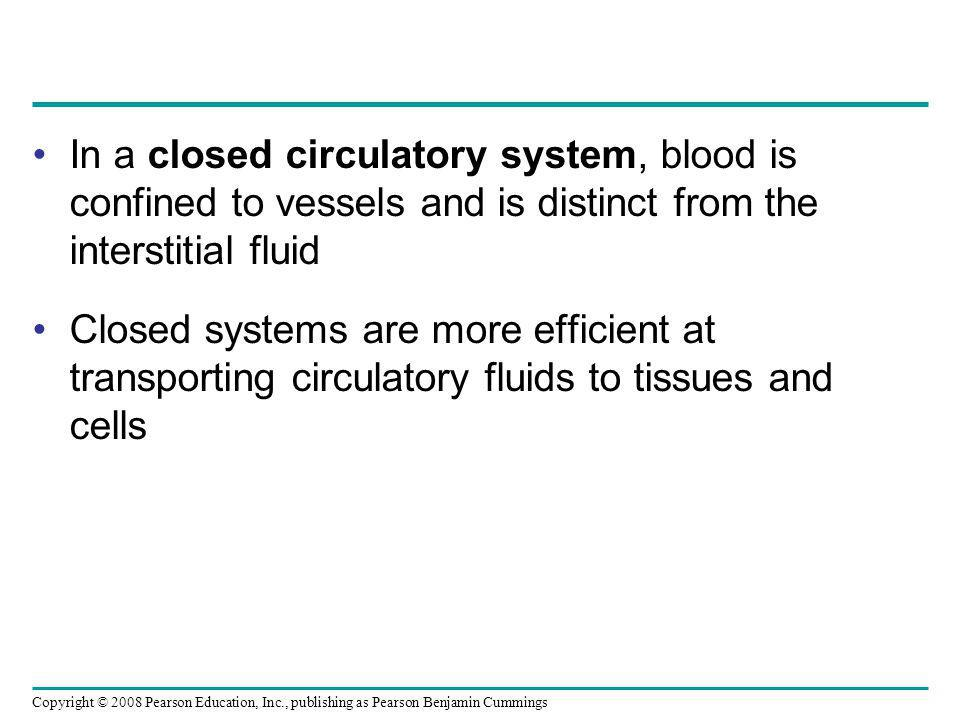 In a closed circulatory system, blood is confined to vessels and is distinct from the interstitial fluid